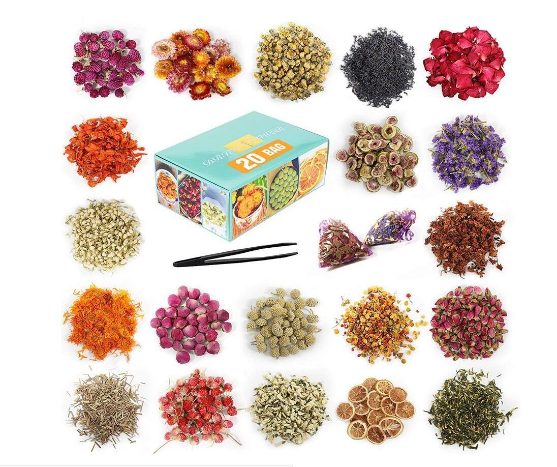 20 حقيبة الزهور المجففة الزهور المجففة الطبيعية زهرة الأعشاب كيت للحمام، صنع الصابون، صنع الشموع - تشمل بتلات الورد، روزبود، ليليوم، ياسمين ...