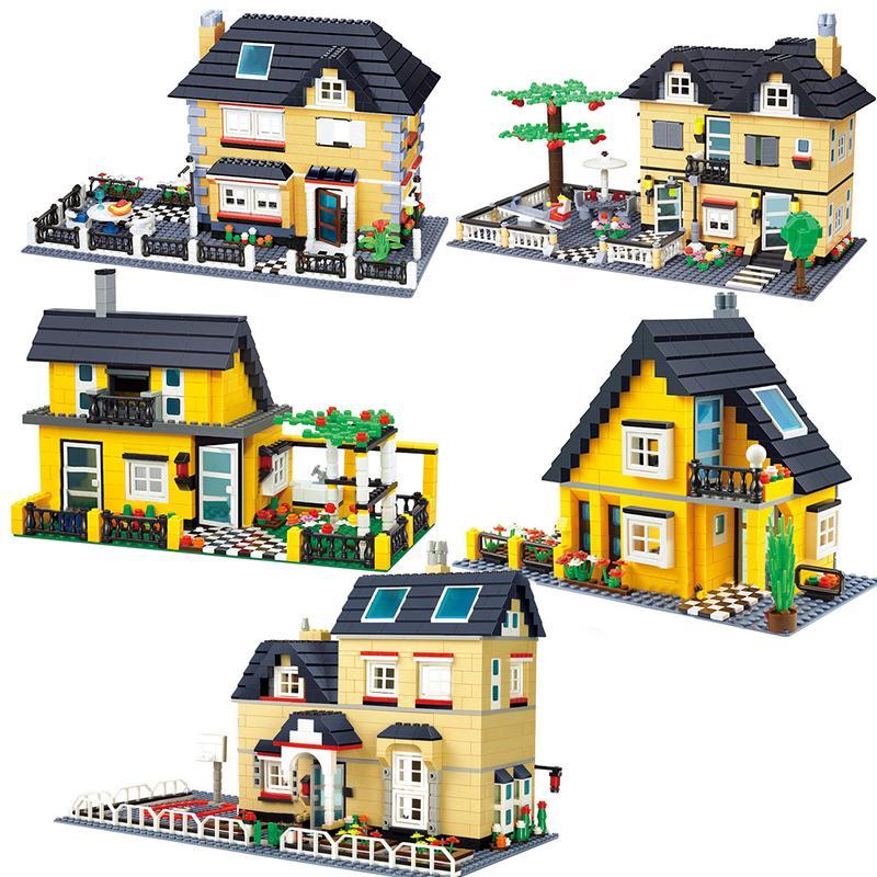 WANGE Совместимый городской архитектуру Модель Capital Building Kits Block Детские игрушки Детские Кирпичи Франция Вилла Villa Наборы Q1126