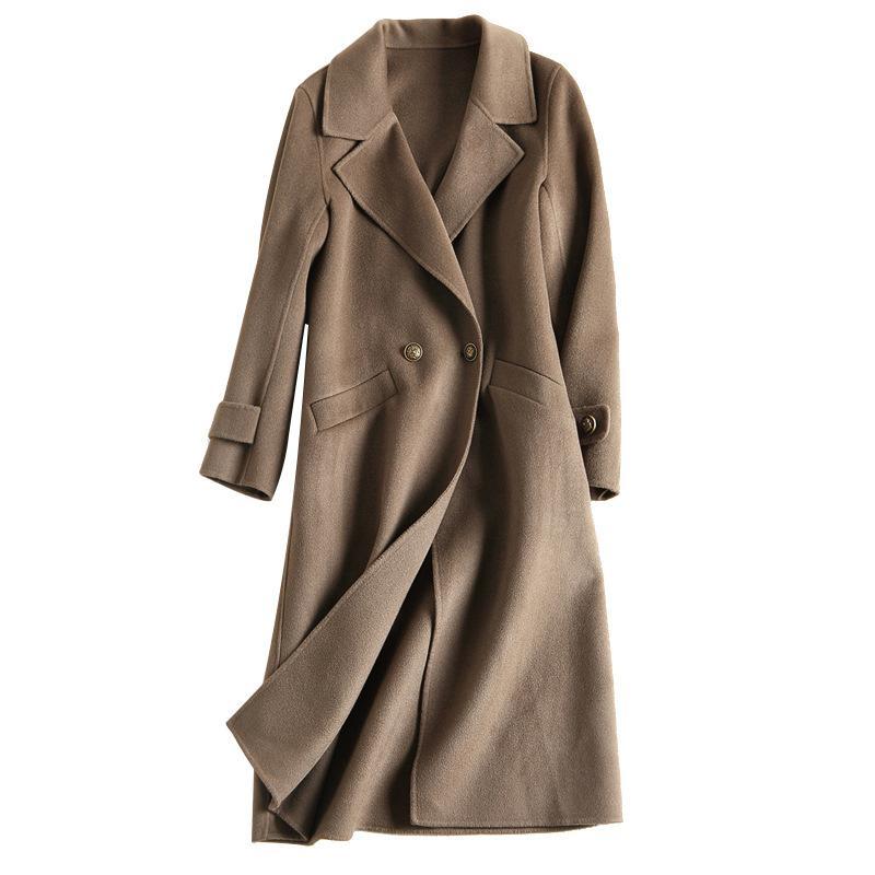 Зимние женщины ручной работы двусмысленные шерстяные пальто длинного дизайна элегантные зимние пальто женщин оформление одежды