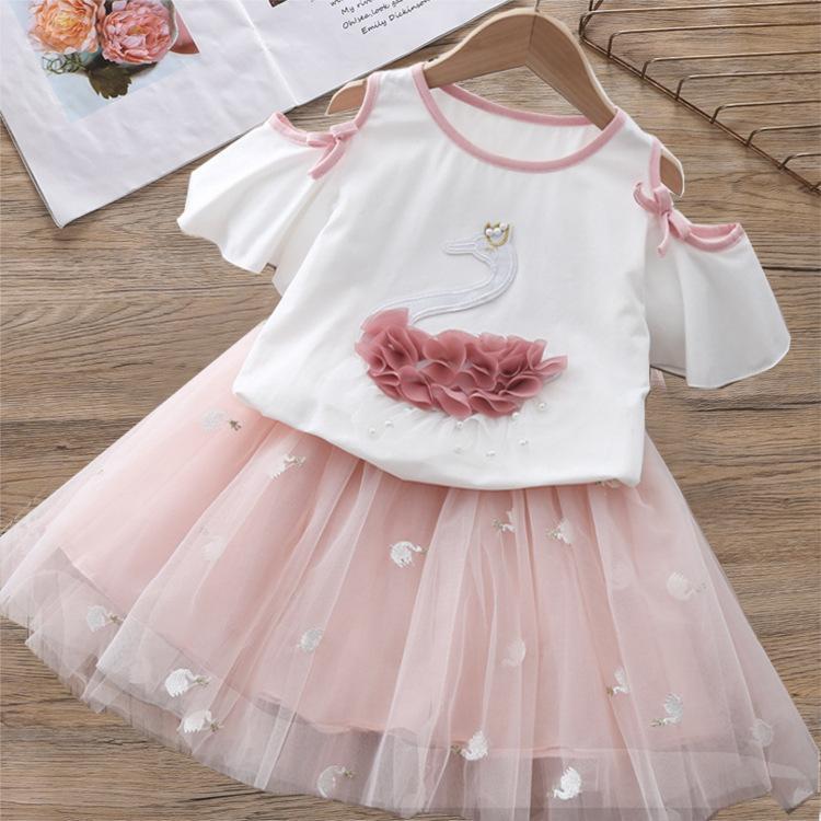 Nuova estate bambini ragazze abbigliamento cartone animato cigno stampato ricamato top t-shirt + filato vestito vestito moda bambino vestiti Y1220
