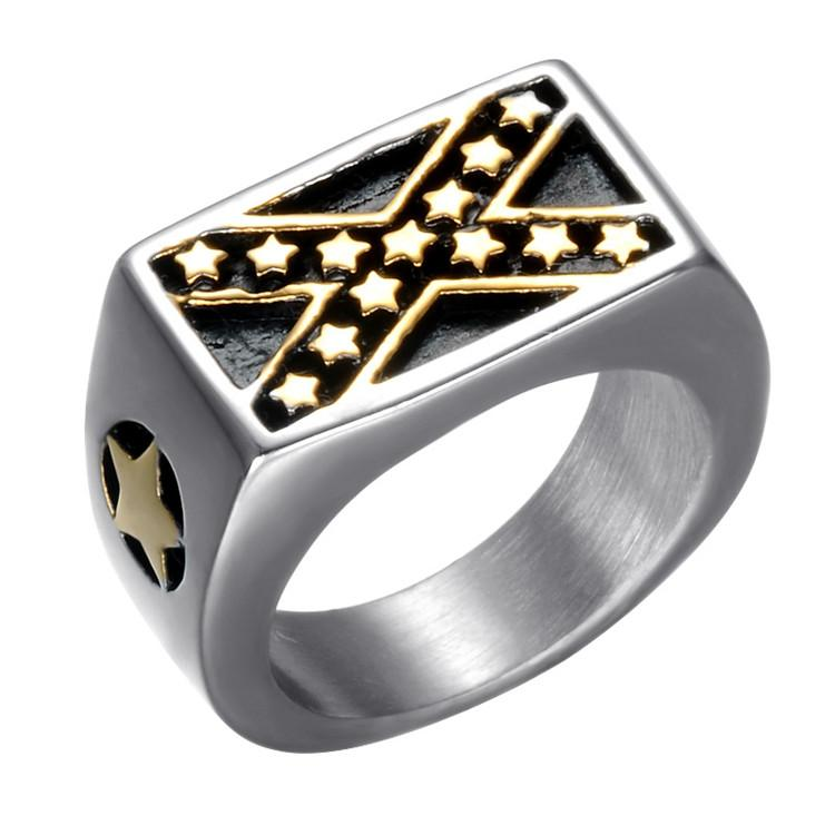 Stainless steel gold federal American federation United States US flag star shape cross X intersect confederate rings jewelry for men