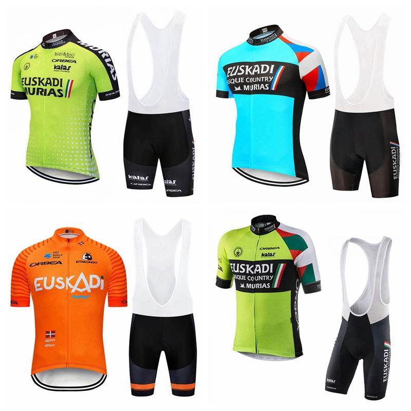 Euskadi team Pro Cycling Short Sleeves jersey bib shorts sets mens bicycle clothing uniform Ropa Ciclismo Maillot Culotte 3D gel pad 102315