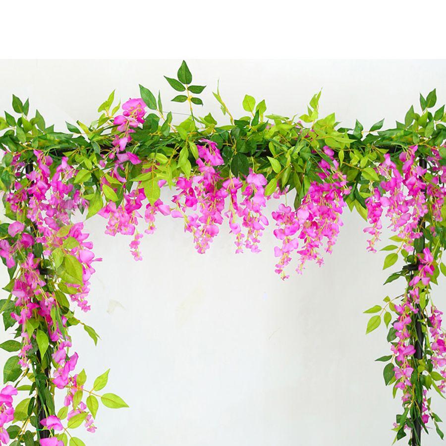 2 متر الوستارية الاصطناعي الزهور كرمة جارلاند الزفاف القوس الديكور النباتات وهمية أوراق الشجر الروطان زائدة فو الزهور ديكور المنزل FFD4768