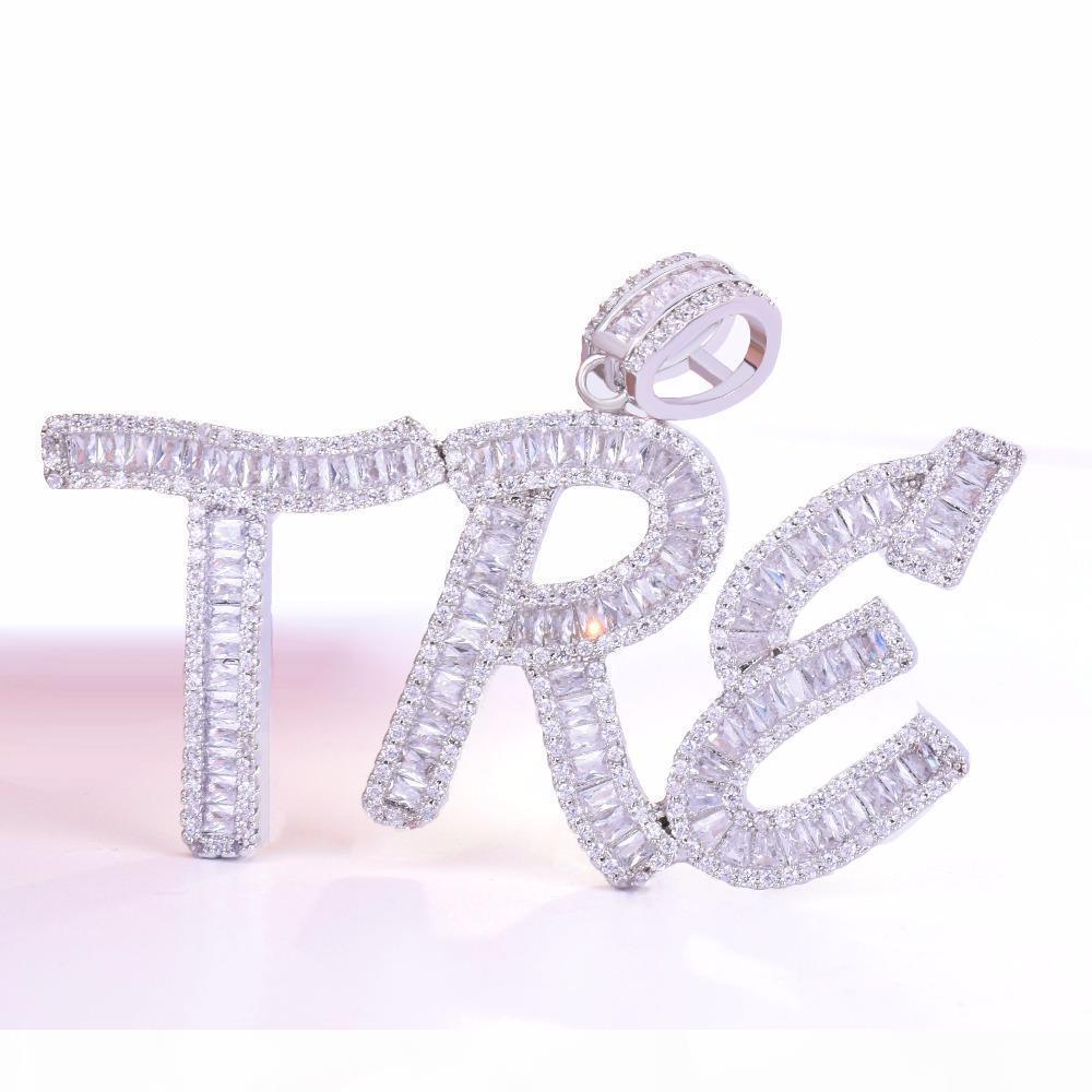 Nom personnalisé des hommes Baguette Lettres Pendentif Glace Zircon cubique avec chaîne en corde Gold Silver Bling Zirconia Hip Hop Bijoux