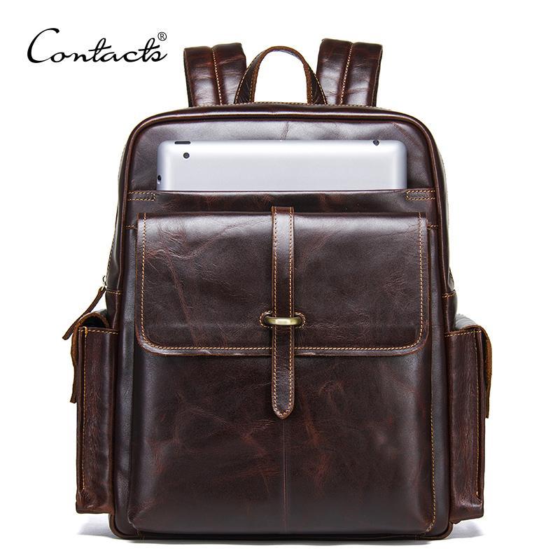 KONTAKT 100% Rindsleder Rucksack für Rucksack für 13-Zoll-LAPTOP Echtes Leder-Bagpack-Lässige männliche Tagespackungen große Reisetaschen