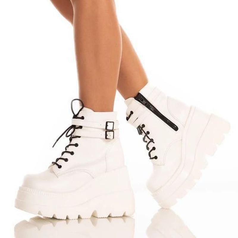 Ботинки лодыжки женщины клинья высокие платформы каблуки толщинные нижние кожаные кружевы осенью зима короткая обувь ботас VT1399