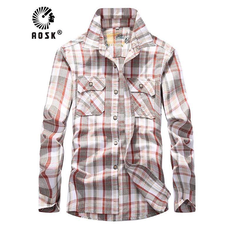Camisas casuales para hombre Camisa a cuadros 2021 hombres 100% algodón manga larga suave confort de la versión de la marca de la marca de la marca