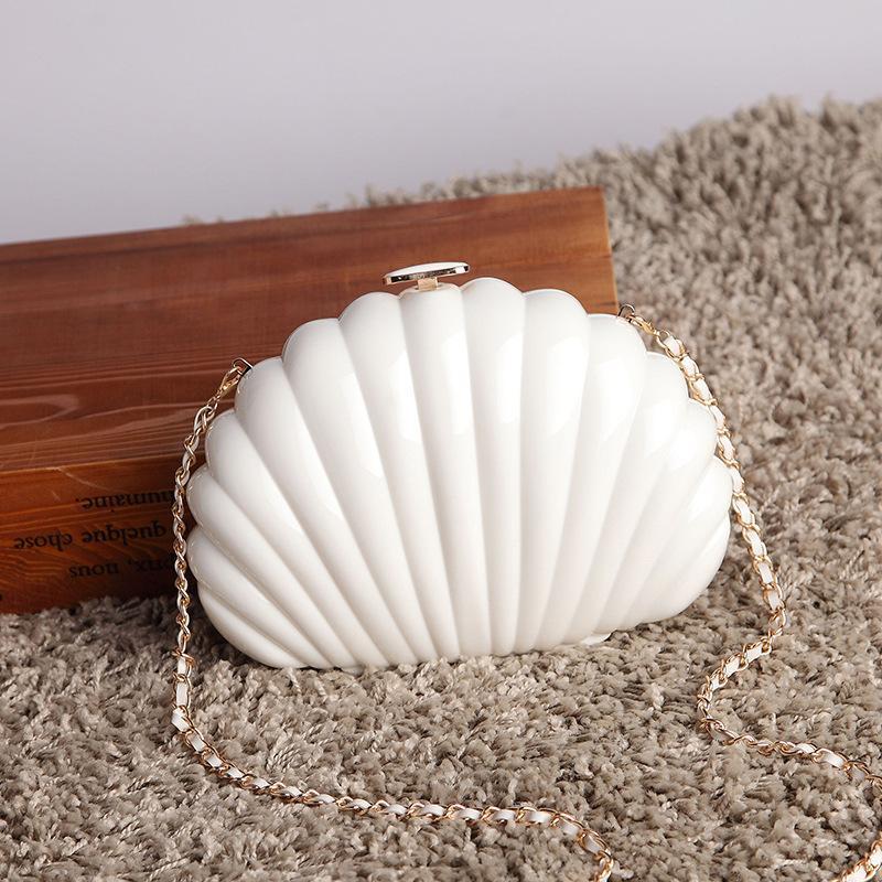 Neue Mode Weiße Acryl Taschen Elegante Shell Abendtasche Tag Kupplungsbeutel Frauen Umhängetasche Party Prom Handtaschen Geldbörsen