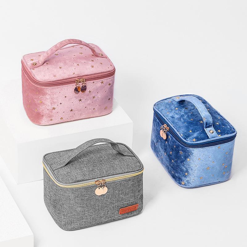 جديد نمط المخملية الوردي مستحضرات التجميل حقيبة يد المرأة فلانتليت مستحضرات التجميل المنظم حقيبة المحمولة أكياس أدوات الزينة المحمولة