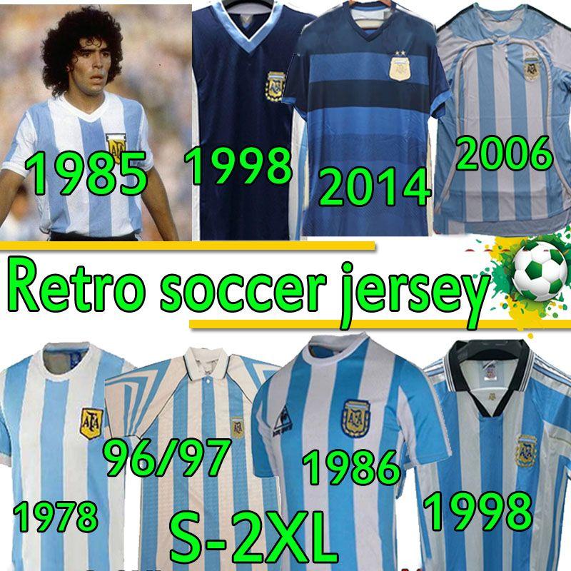 4XL الرجعية لكرة القدم الفانيلة الأرجنتين مارادونا 1978 1985 1985 1985 1994 1998 2006 2014 Batistuta Crespo ميسي Zanetti Men + Kids Kits Football Shirts