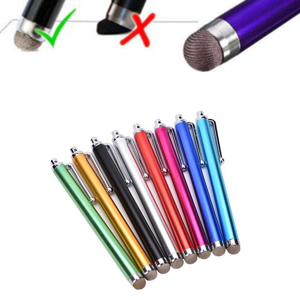 1 pc metal fibra stylus malha micro fibra ponta táctil stylus caneta para iphone para samsung telefone inteligente tablet pc cor aleatoriamente
