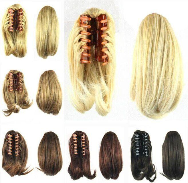 Nueva Pelucas sintéticas de la cola de la pinza de 90 g de la gripper en 8 colores naturales clip de pelo rizado