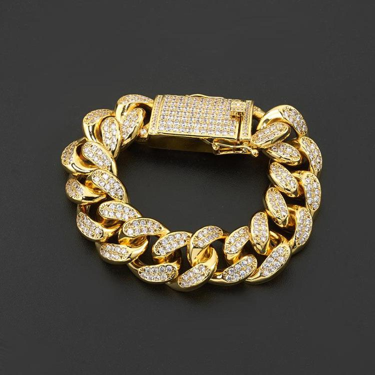 20mm Iced Out Big Miami Cuban Link Bracelet Tennis Hip hop Gold Silver Men Women Jewelry