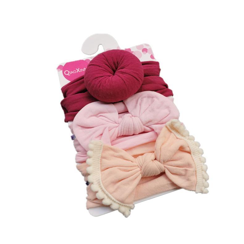 Bebek Kız Düğüm Topu Çörek Bantlar Yay 3 adet / takım Bebek Elastik Hairbands Çocuk Düğüm Şapkalar Çocuklar Saç Aksesuarları CCA2797