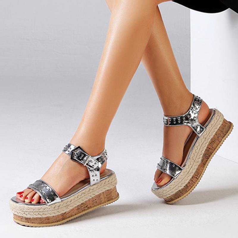 Frauen Schuhe Römische Plattform Wedge High Heel Kleid Sandalen Silber Große 35-42 Sexy Sommer Damen Sandalen High Heels