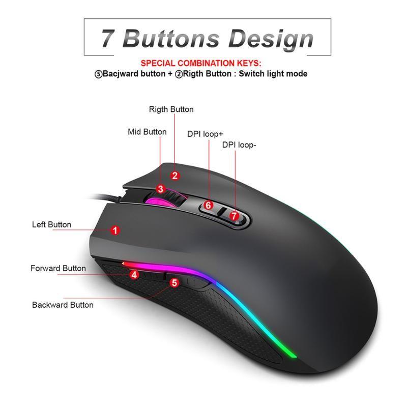 Проводная RGB Gaming Mouse Mouse 7 Программируемые кнопки 7200 DPI Регулируемая оптическая игровая мышь RGB задний свет для Gamer FPS