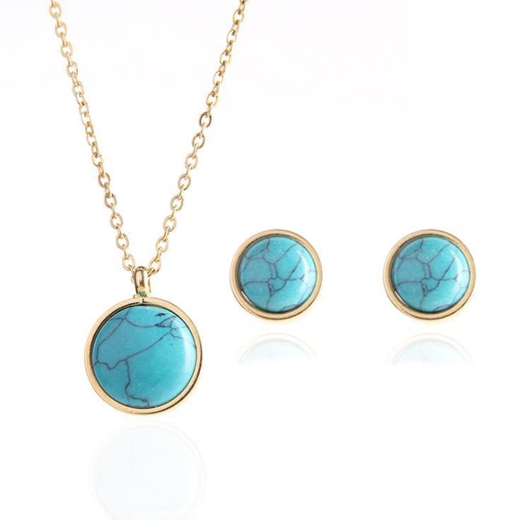 Ювелирные украшения набор ювелирных изделий мода ювелирные изделия круглые кристалл золотые медовые серьги ожерелье красоты женщины YXSTX