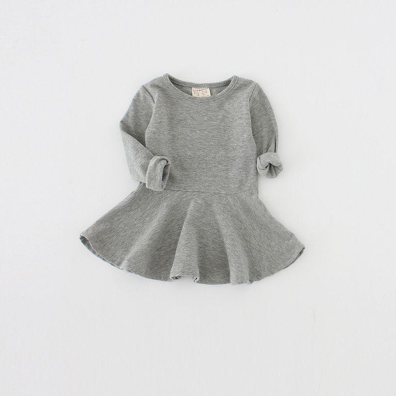 2020 kinderbekleidung herbst und winter baumwolle mädchen kleider kräuselte langärmelige Kinderröcke 1-4 Jahre alt Baby Rock Großhändler