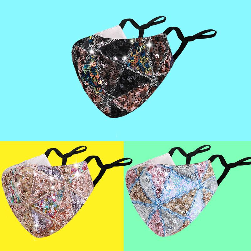 Sparkly Blink Jewel Lace Face Mask Fashion Party Women Mask For Decoration Dust Sun Washable Face Mask