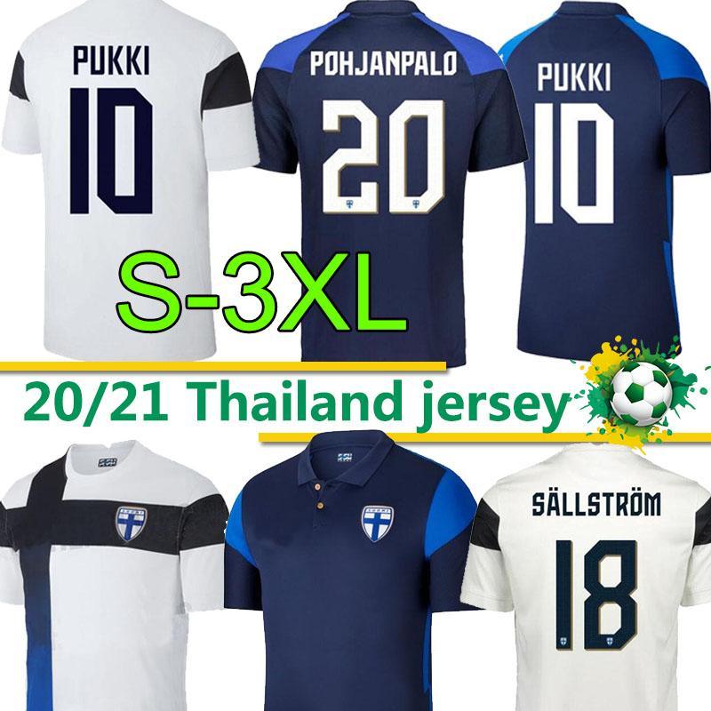 3XL التايلاندية فنلندا لكرة القدم الفانيلة 2020 2021 فريق Suomi الوطني المنزل أبيض بعيدا الأزرق pukki skrabb ريتالا جينسين الرجال قمصان كرة القدم