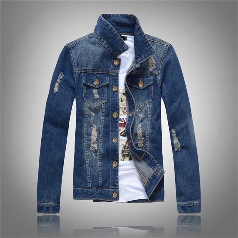 2020 erkek Denim Ceket Yüksek dereceli Moda Kot Ceketler Slim Fit Casual Streetwear Vintage Erkek Üst Jean Giyim Büyük Boy 4XL