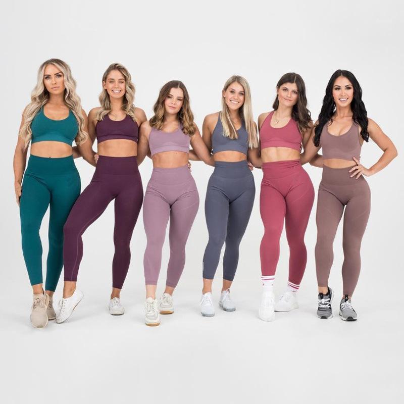 Donne senza soluzione di continuità Vital Yoga Set di allenamento Camicie Sport Pantaloni Sport Bra Gym Abbigliamento Breve Crop Top Vita alta Leggings da corsa Set di sport1