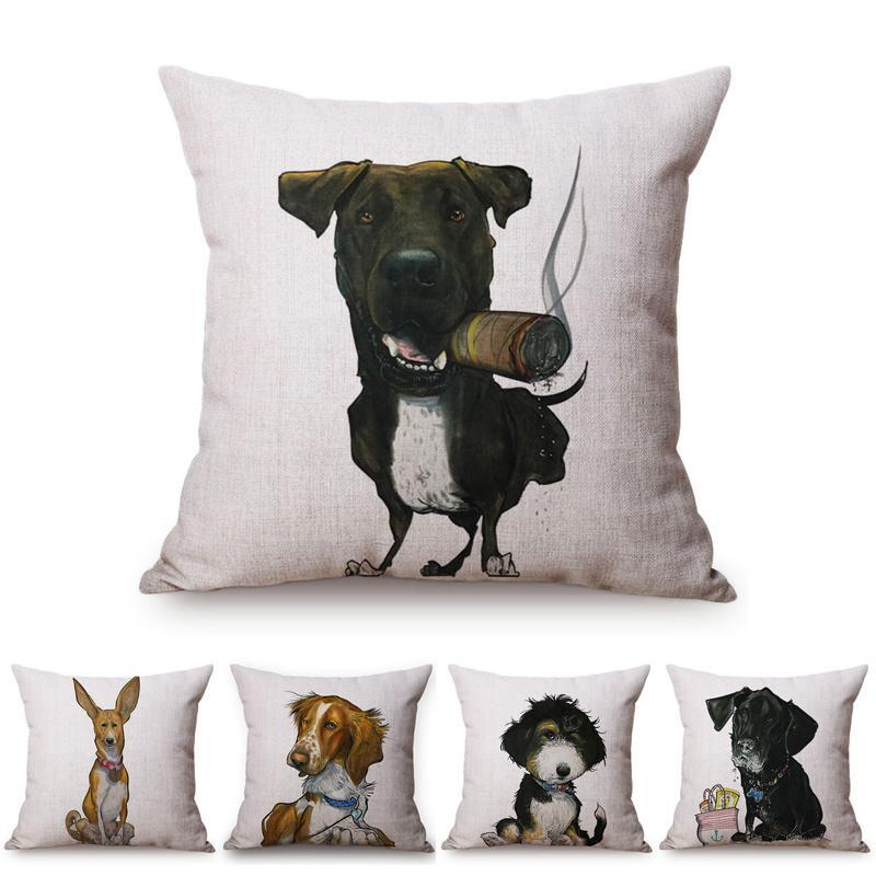 PET DOY DOG Animals Funny Style Cover Cover Dachshund Schnauzer Perro Niños como Lino de Algodón Sofá Caja de almohada de tiro decorativo