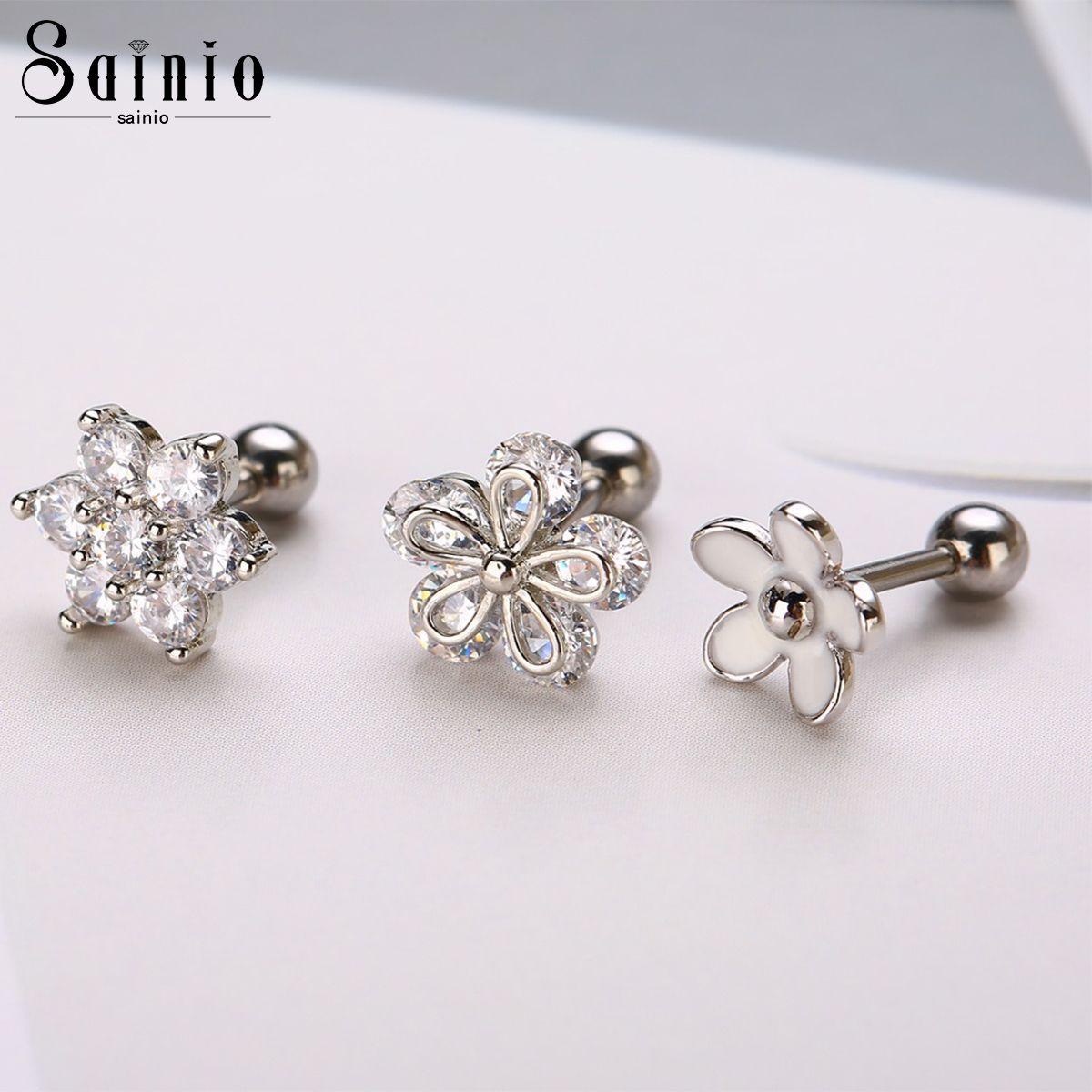 Sainio 3 Pcs CZ Flower Ear Cartilagem Trago Hélice Brincos Prego Barbell Barbell Piercing Cartilagem Anel de Cartilagem para Mulheres Menina 210202