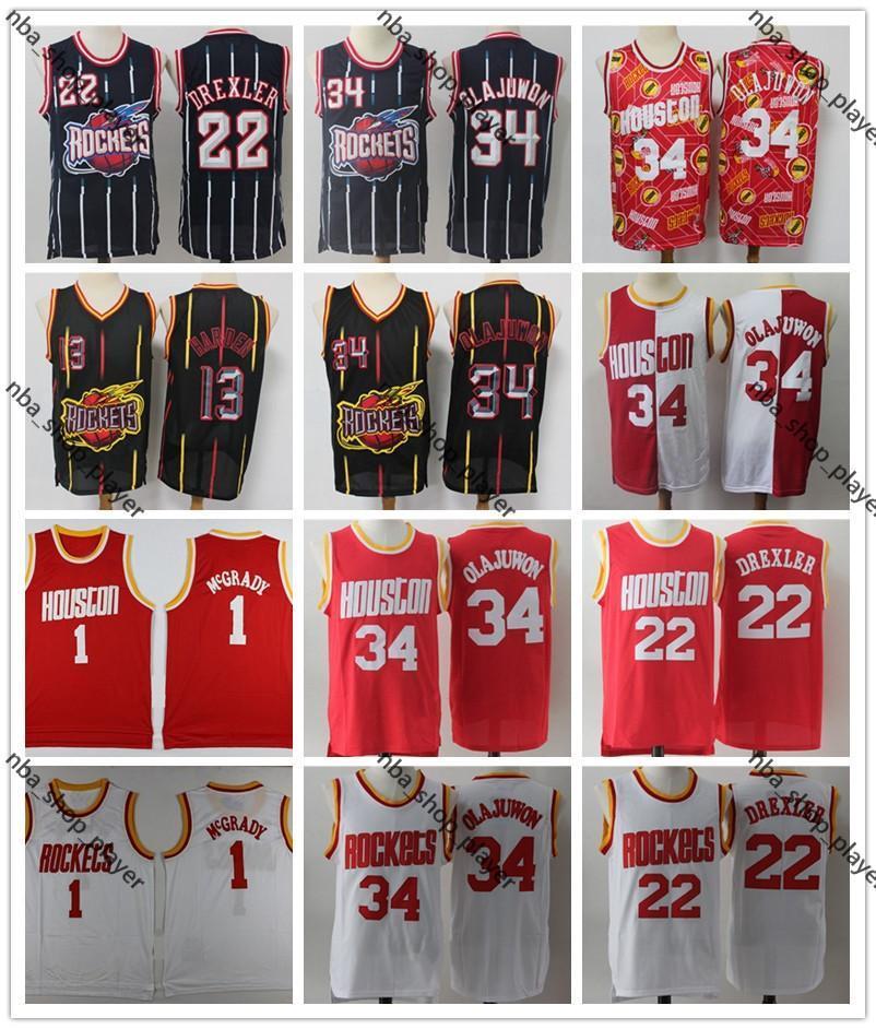 NCAA Stitched MenHoustonRocketsTracy McGrady Clyde Drexler Hakeem Olajuwon Basketball Shorts Basketball Jersey Shirts