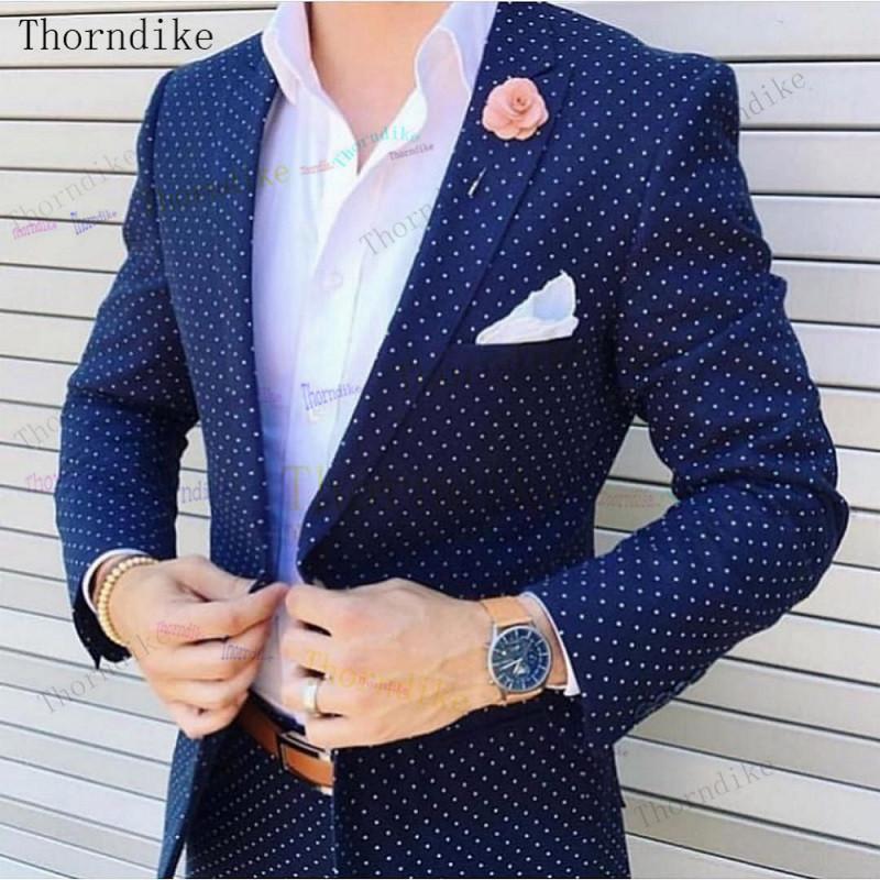 Trajes para hombres Blazers Thorndike 2021 Serie de puntos Estilo italiano TUXEDO COLOR Colorido vestido de novia elegante Slim Traje Set 2 PCS (chaqueta + p