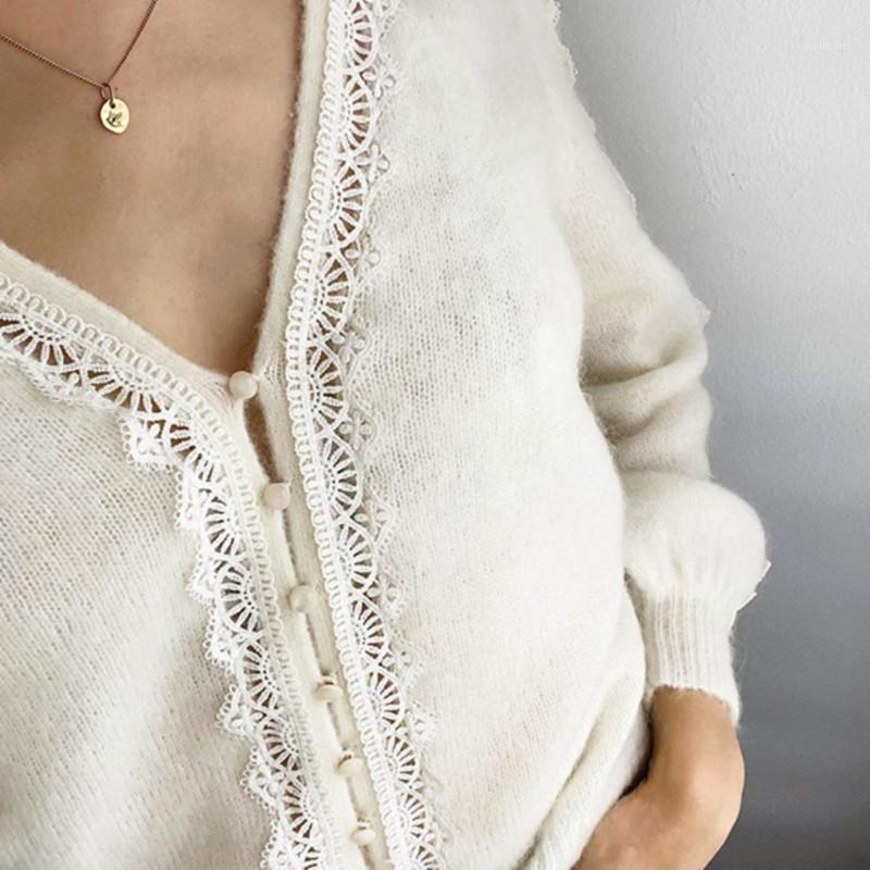Novo suave oco out lace camisola de malha solta malha v pescoço cardigan knitwear jaqueta top1
