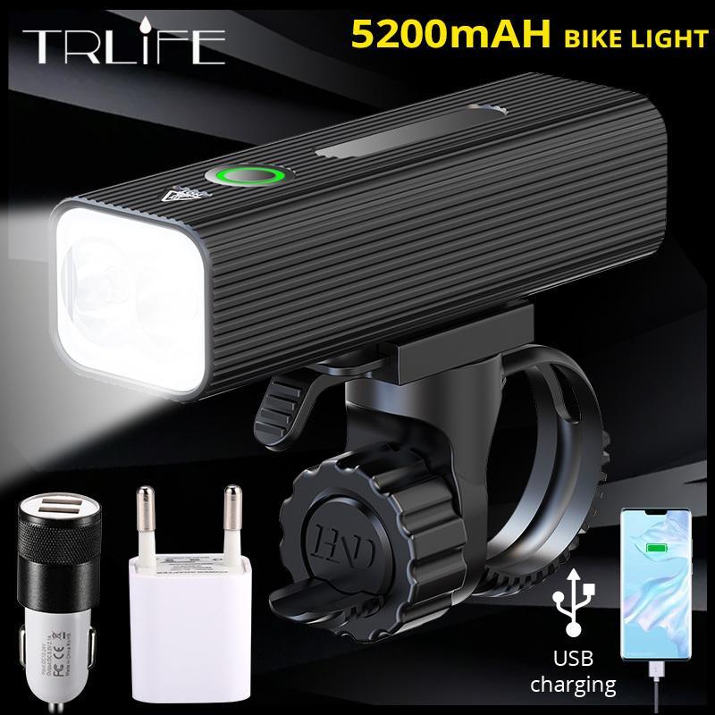 TRLIFE 5200MAH Fahrrad-Scheinwerfer als Power Bank 1000 Lügen USB-Aufladbare L2-Bike-Light-Front-IPX5 wasserdichte MTB-Bike-Taschenlampe 201125