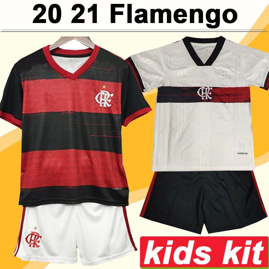 20 21 Flamengo DIEGO E. RIBEIRO Kids Kit Soccer Jerseys New GUERRERO H. DOURADO Home Football Shirts Short Boy Camisetas de Futebol