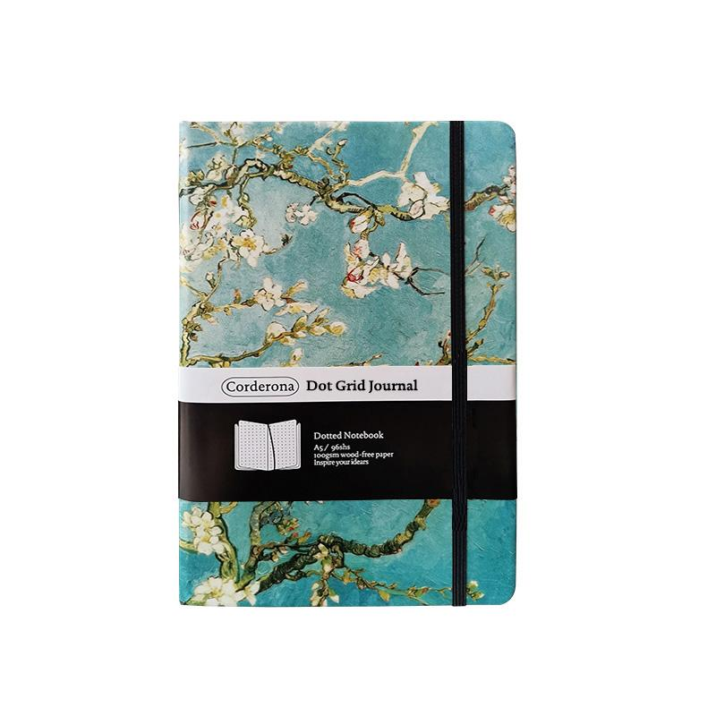 A5 Van Gogh Starry Night Blossoming Almond Tree Dotted Bullet Notebook Hard Cover Dot Grid Journal Travel Planner Diary