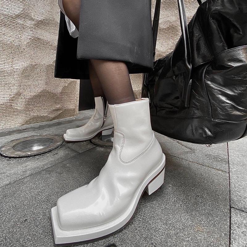 Otoño Fashion tobillo botas para las mujeres Square Toe Zip Alto Tacones Altos Zapatos de invierno Mujeres Botas de cuero blanco Mujer 2020 Zapatos Mujer