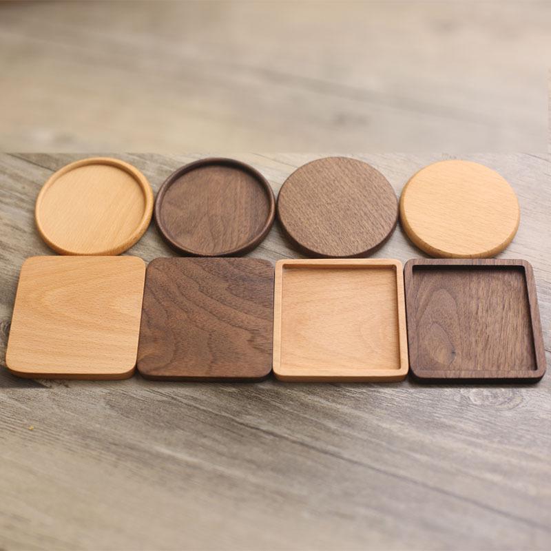 كوستر خشبي جولة ساحة الزان الطبيعي الخشب الأسود الجوز كوب حصيرة القهوة قبعات كوستر سلطانية لوحات الجدول أدوات العزل أدوات W-00486
