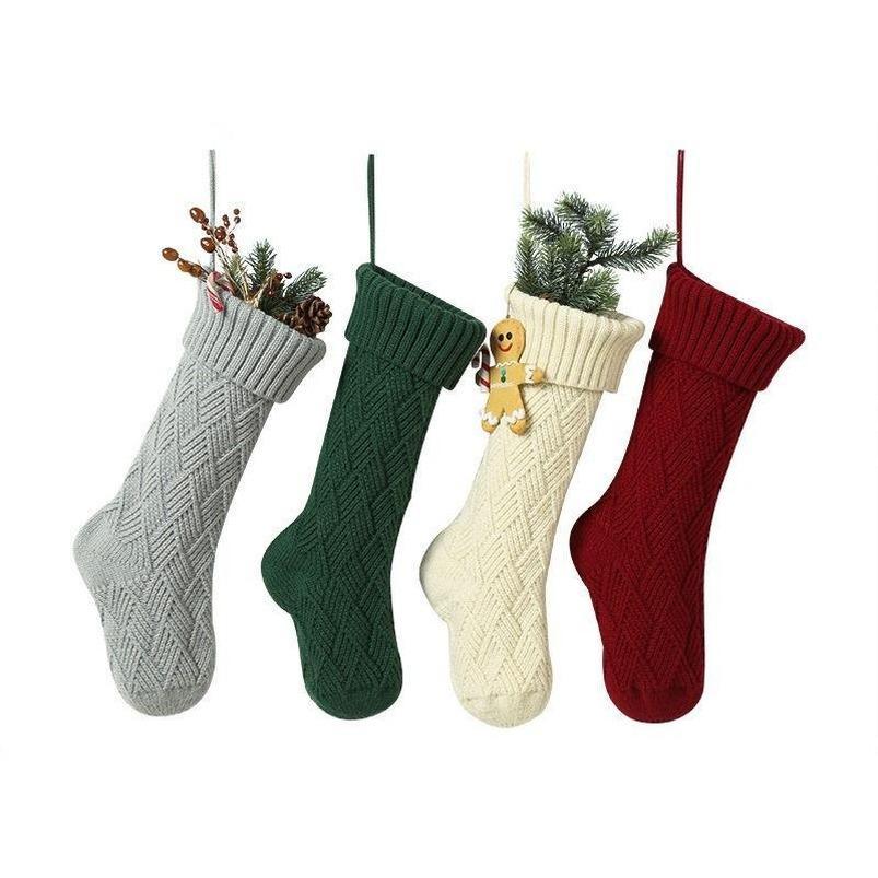 Noel Süsleri Xmas çorap Büyük Dekoratif Çorap DWB2400 Örme 2021 Kişiselleştirilmiş Yüksek Kalite Örme Noel Çorap Hediye Çanta
