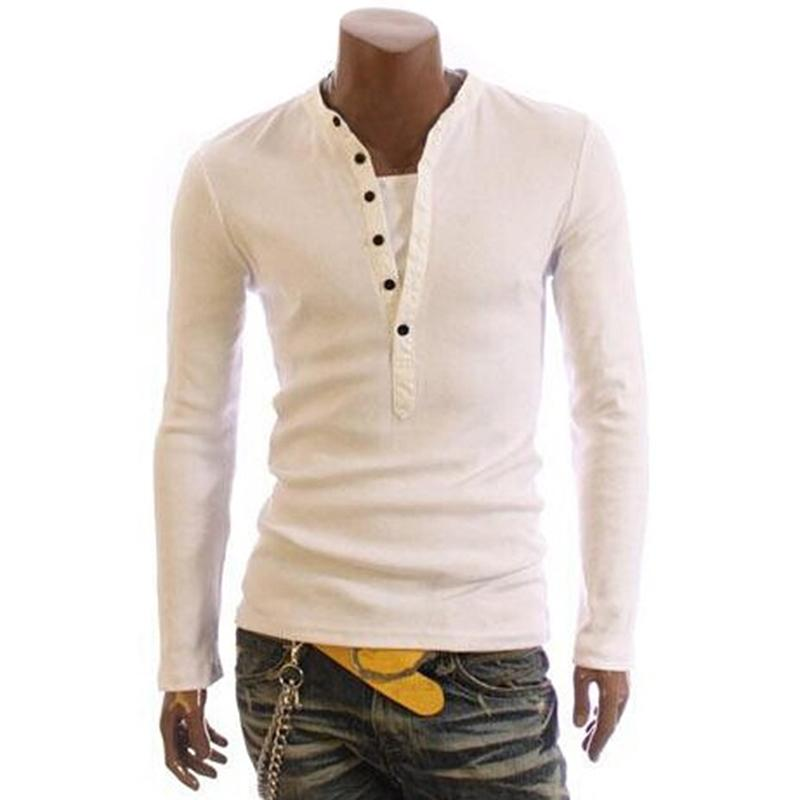 2020 T-shirt Mode T-shirt Tshirt Tshirt Hommes Couleur Solide T-shirts Topstees Mandarin Collier Bouton de chemise longue
