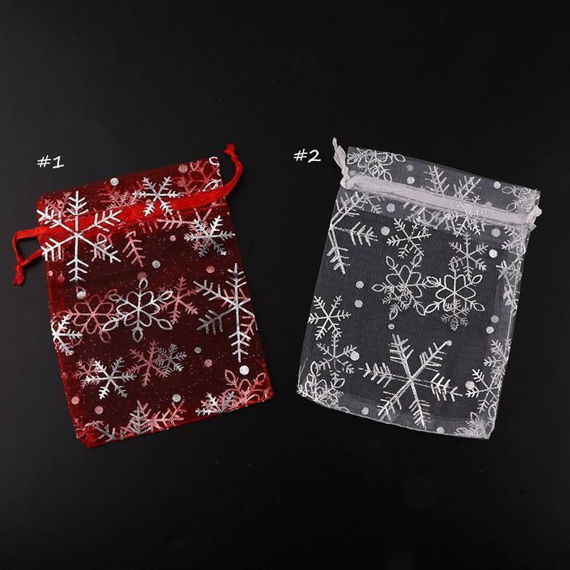 20Pcs Rot / Silber Snowflake Verbandsmull Organza Beutel Hochzeit Beutel Nizza Geschenk-Beutel Schmuck Verpackung Transparent Gazebeutel