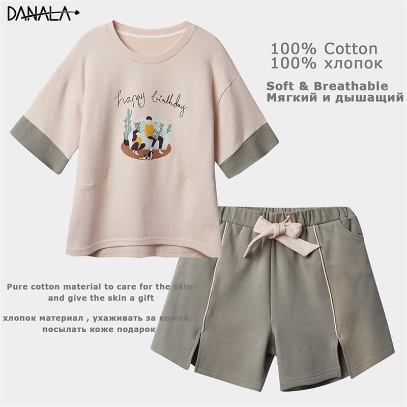 Danala 100% Pamuk Rahat Pijama Setleri Kadınlar Kısa Kollu Baskı Pijama Setleri Kızlar Ev Giysileri Kadınlar Için Ev Takım Elbise Pijama Y200425