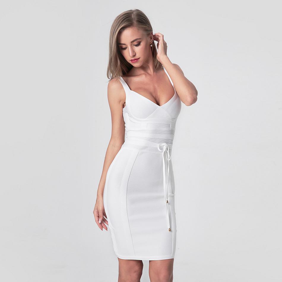 Новейшая модная женщина повязка платье женщин спагетти ремешок V-образным вырезом пояс Сексуальный ночной клуб вечернее вечеринка BodyCon платье Vestidos LJ200808