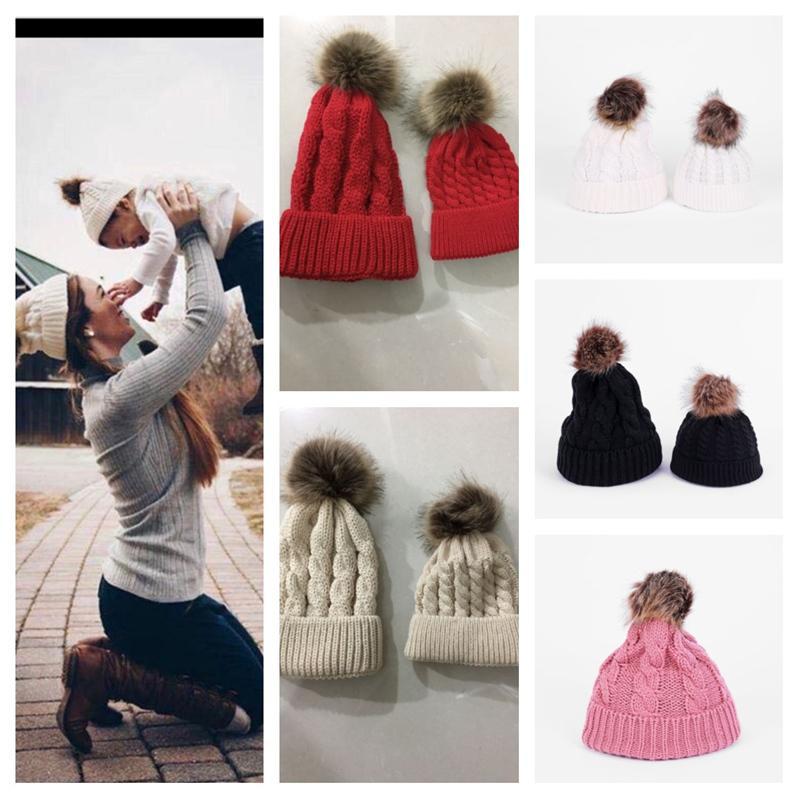 Twist Crochet Knitted Pom Beanies Women Kids Children Winter Hat Cuffed Skull Caps Fashion Knit Beanie Ski Sport Outdoor Headwear E112002