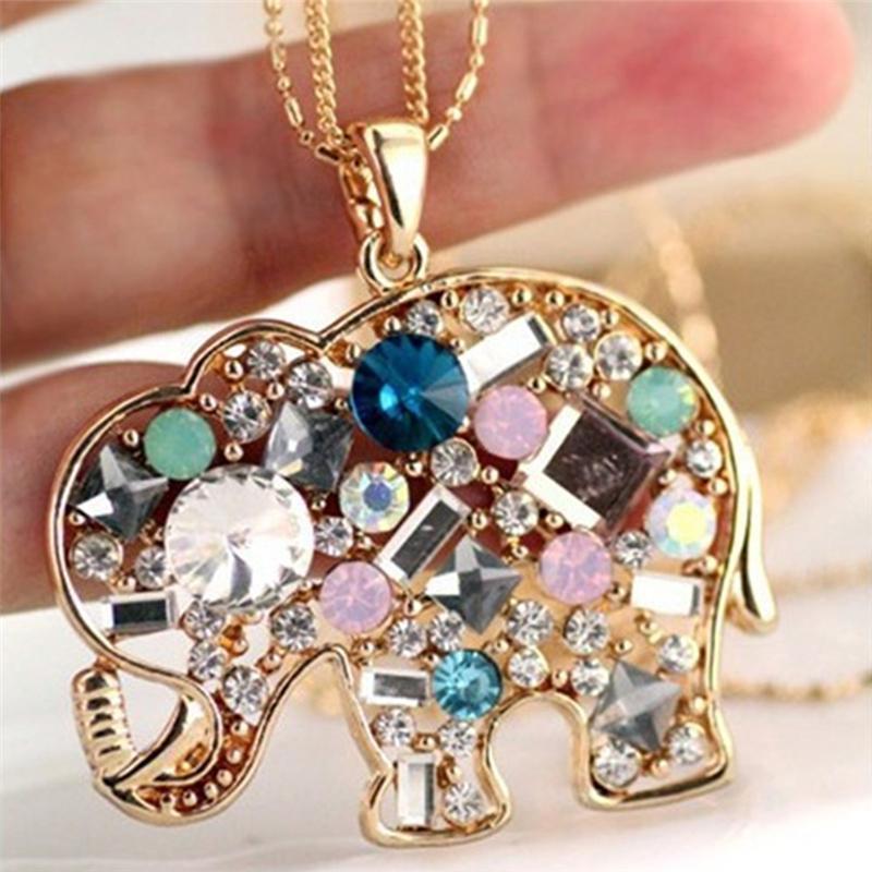 Изысканный слон ожерелье подвеска Кристалл Ожерелье Женщины Lucky Long Свитер Длинная цепочка подарок для девочек Заявление Ювелирные Изделия