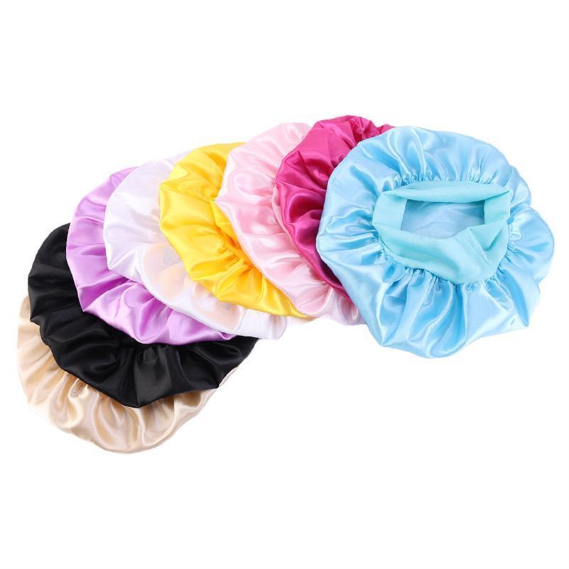 Moda bambini solido di colore Bonnet Ragazze raso notte di sonno Doccia Cap Cura dei capelli morbida Cap copertura della testa Wrap Berretti Calotta 1-6Y bambino E111803