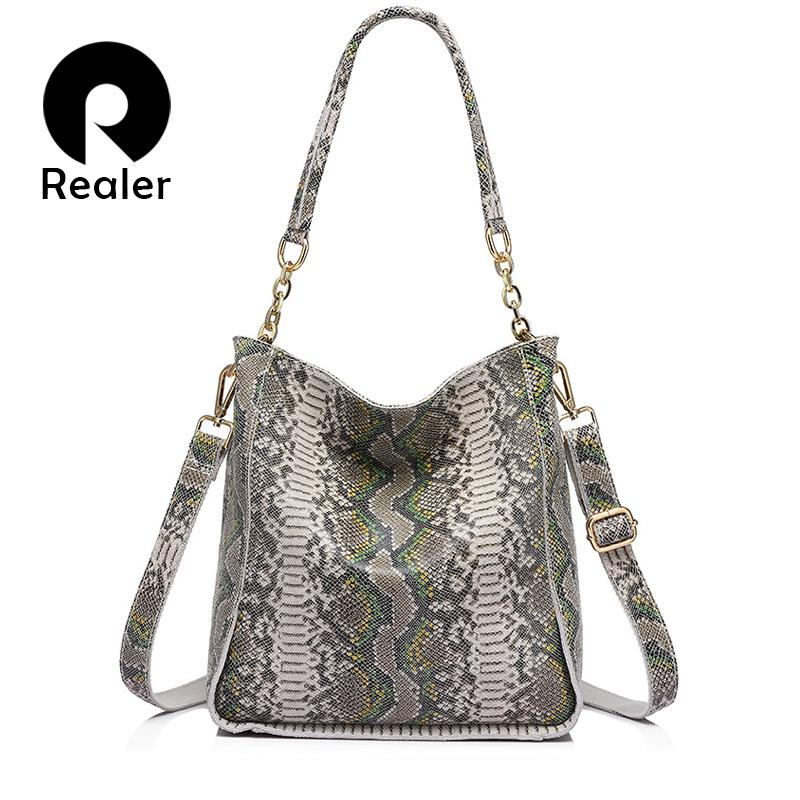 REALER Weiche Neue Ankunft Echtes Leder Frau Handtasche Umhängetasche Weibliche Serpentinen-Drucke Einkaufstasche Damen Messenger Bag