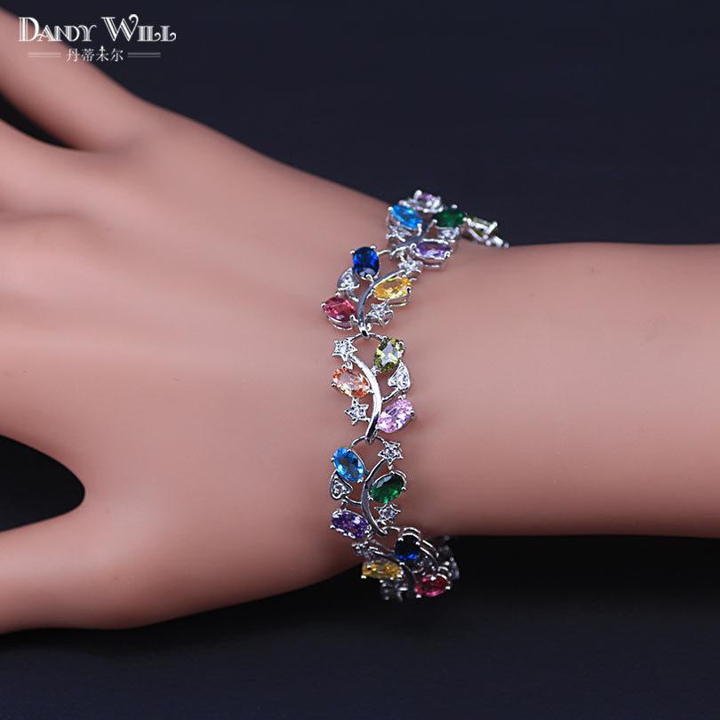 Grande folha quadrada prata cor moda jóias pulseiras para mulheres mulítico cúbico zirconia jóias para as mulheres y1119