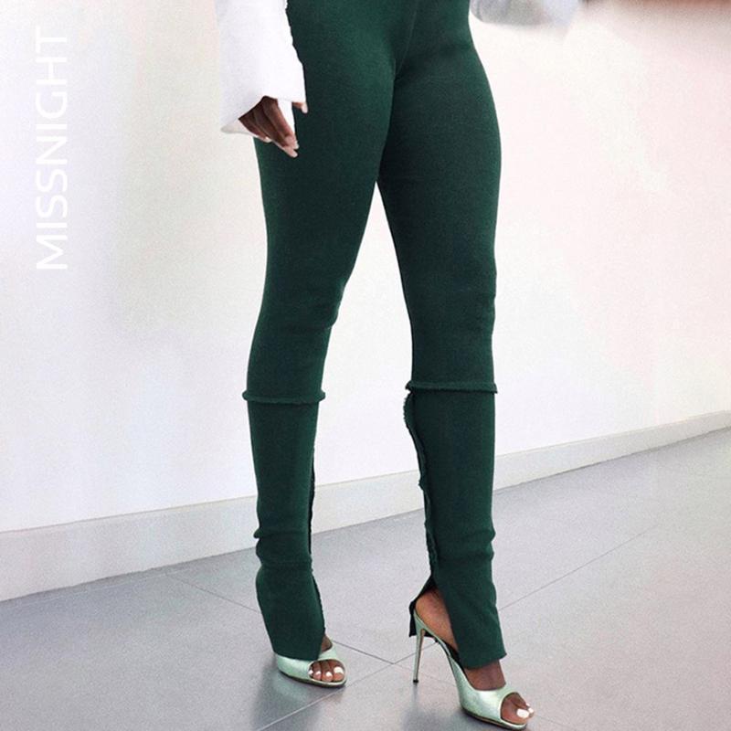 Missnight Fashion Knyted Leggings apilados Sólido Verde Negro Pantalones largos Mujeres Split Split Elástico Slim Patchwork Bodycon High Cintura