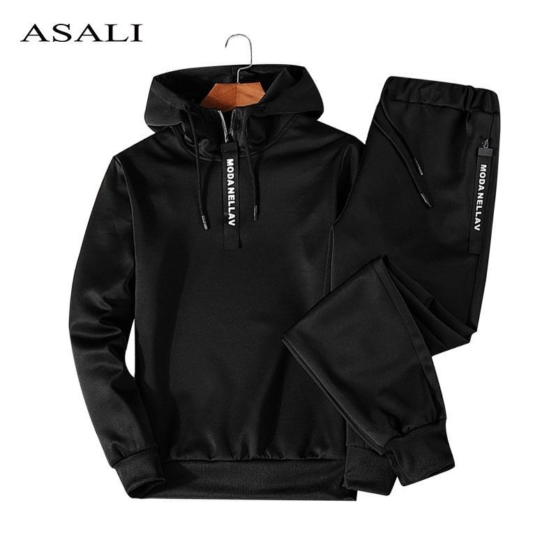 ASALI Hoodies Set Erkekler Sonbahar Rahat Erkek Eşofman Kapşonlu Hoody + Pantolon 2 Parça erkek Sportwear Kazaklar Setleri Erkek Dış Giyim 5XL 201207