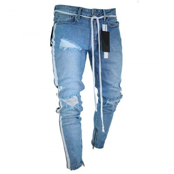Herrengedruckte gewaschene Loch Sommer Mode dünne hellblaue bleichte Bleistifthose Hiphop Straße Jeans