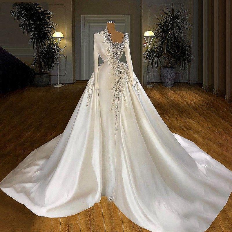 Major Pearls Beadings Overskirts Mermaid Wedding Dresses With Detachable Train Satin Long Bridal Dress Muslim Gowns vestidos de novia